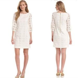 Eliza J White Eyelet 3/4 Sleeve Mini Sheath Dress